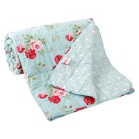 Cath Kidston Antique Rose Bouquet Bedspread Duck Egg