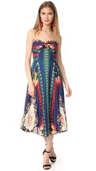 Anna Sui New York Print Pleated Strapless Dress Navy Multi