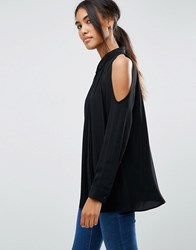 Asos Cold Shoulder Oversized Blouse With Batwing Sleeve Black