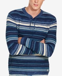 Denim And Supply Ralph Lauren Men's Striped Henley Sweater Blue Mu