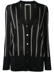 Lanvin Striped Knitted Cardigan Black