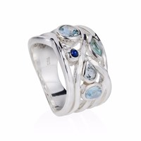 Neola Liana Silver Ring In Aquamarine And Moonstone