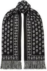 Alexander Mcqueen Fringed Wool And Silk Blend Jacquard Scarf Black