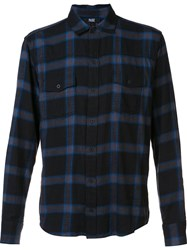 Paige Checked Button Down Shirt Blue