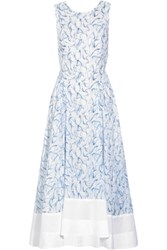 Tory Burch Blaire Cross Back Printed Cotton Midi Dress Sky Blue