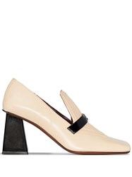 Manu Atelier Heeled Square Toe Loafers Neutrals