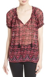 Joie Women's Masha Print Silk Peasant Top