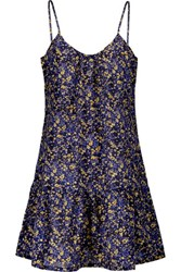 Current Elliott The Strappy Cami Gathered Floral Print Cotton Broadcloth Mini Dress Multi