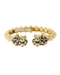 David Webb 18K Gold Baby Frog Cuff Bracelet In Black Enamel