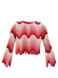 Mary Katrantzou Worry Less Cropped Wave Crochet Top Pink