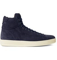 Tom Ford Russel Suede High Top Sneakers Navy