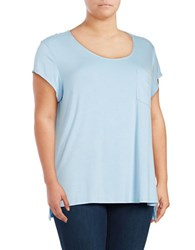 Lord And Taylor Plus Iconic Fit One Pocket Tee Blue