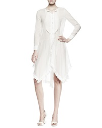 Nina Ricci Long Sleeve Ruffled Voile Shirtdress