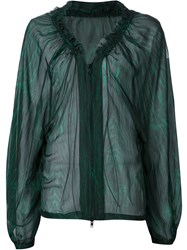 Ann Demeulemeester Sheer Zip Blouse Green
