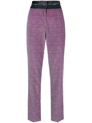 Msgm High Waist Checked Trousers Pink And Purple