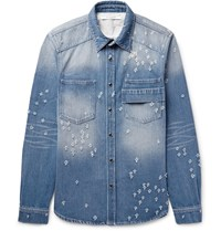 Givenchy Slim Fit Distressed Denim Shirt Blue