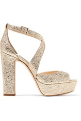 Jimmy Choo April Metallic Crinkled Leather Platform Sandals Gold