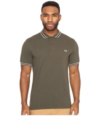 Fred Perry Tramline Tipped Pique Shirt Dark Fern Men's Clothing Brown
