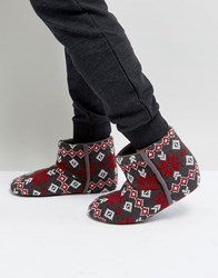 Dunlop Fairisle Boot Slippers Grey