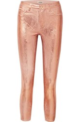 L'agence Margot Metallic Coated High Rise Skinny Jeans Pink