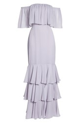 Wayf Penelope Off The Shoulder Popover Gown Ice Marble