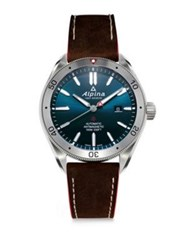 Alpina Sapphire Automatic Leather Watch Navy
