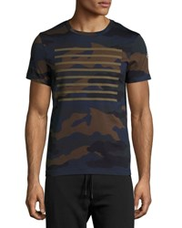 Moncler Line Print Camouflage T Shirt Navy