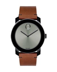 Movado 42Mm Bold Watch With Leather Strap Brown