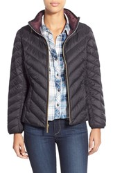 Petite Women's Michael Michael Kors Chevron Quilted Packable Down Jacket Black
