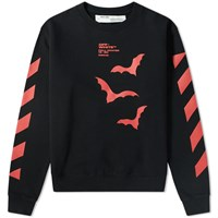 Off White Diagonal Sleeve Bats Crew Sweat Black
