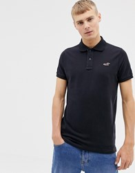 Hollister Icon Logo Modern Collar Pique Polo Slim Muscle Fit In Black