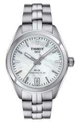 Tissot Women's Pr100 Diamond Automatic Bracelet Watch 33Mm Silver