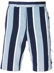 Thom Browne Distressed Wide Repp Stripe Short Blue