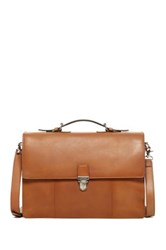 Cole Haan Leather Triple Gusset Briefcase Brown
