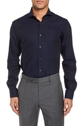 Duchamp 'S Big And Tall Trim Fit Solid Dress Shirt Navy