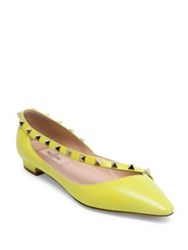 Valentino Rockstud Patent Leather D'orsay Flats Yellow