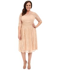 Kiyonna Swinging Symphony Lace Dress Palest Nude Peach Women's Dress Neutral