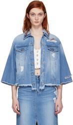 Sjyp Blue Reverse Detail Denim Jacket