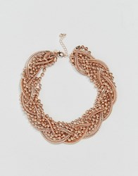 Coast Twist Cluster Necklace Rose Gold