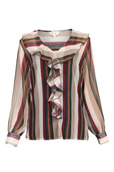 Jolie Moi Striped Frilly Blouse Green