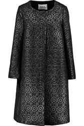 Issa Percy Oversized Jacquard Coat Black
