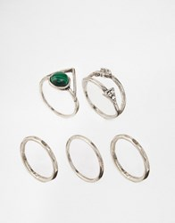 Asos Festival Triangle Ring Pack Burnished Silver