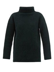 Jacquemus Agde Ribbed Knit Roll Neck Wool Blend Sweater Dark Green