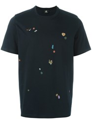 Paul Smith Ps By 'Tablet' Print T Shirt Blue