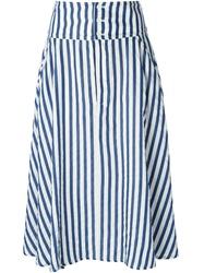 Zucca Striped Midi Skirt White