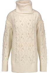 Rachel Zoe Embellished Cable Knit Wool Blend Turtleneck Sweater Cream