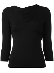 Armani Collezioni Pleated Trim Blouse Black