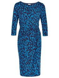 Planet Animal Print Dress Mid Blue