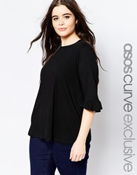 Asos Curve T Shirt With Frill Sleeve Black