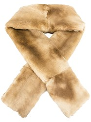 Jean Paul Gaultier Vintage Faux Fur Scarf Nude And Neutrals